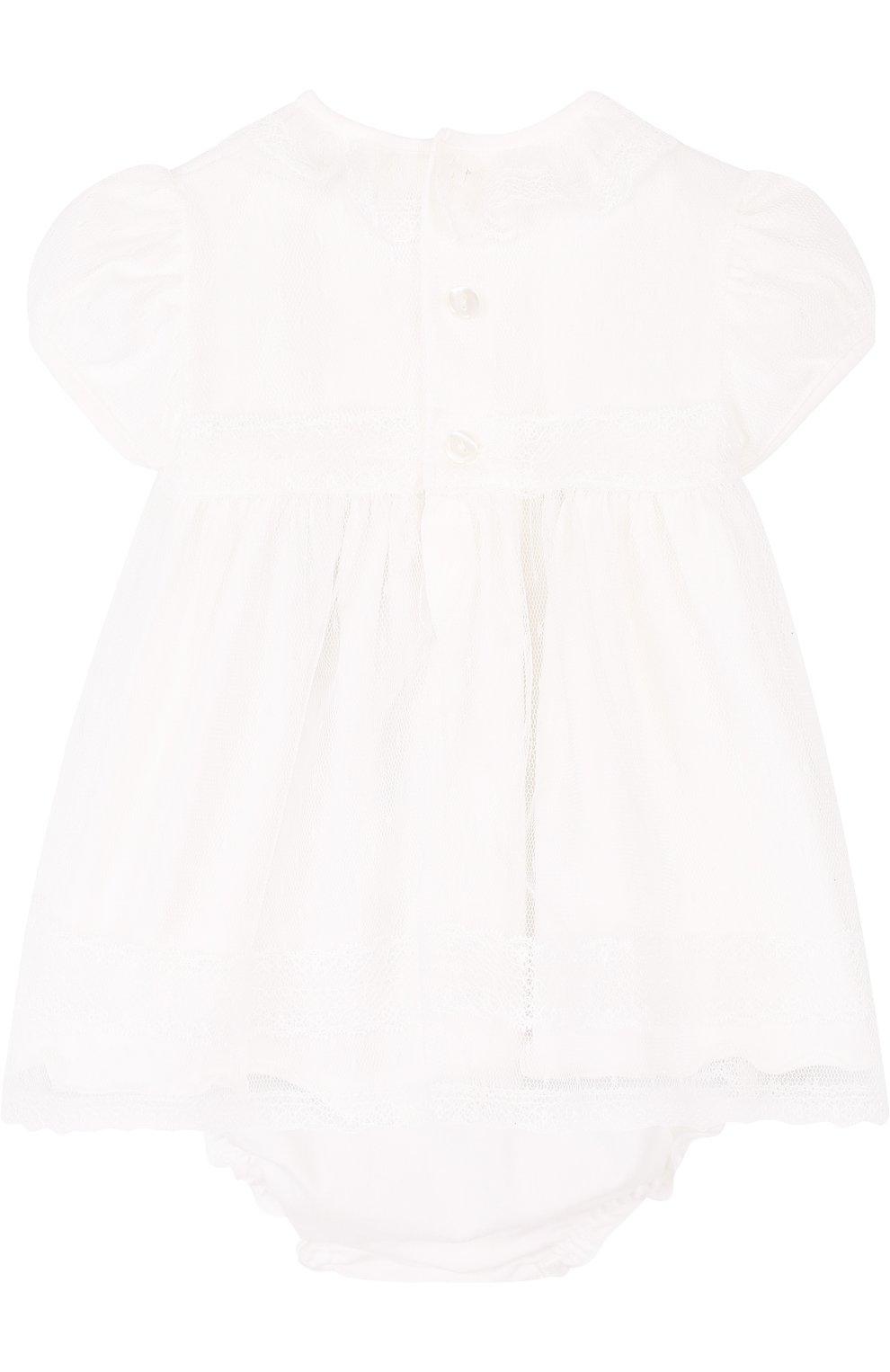 Женский хлопковый комплект из платья и трусов ALETTA кремвого цвета, арт. RB88377/1M-18M | Фото 2