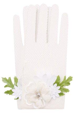 Перчатки фактурной вязки с декоративной отделкой | Фото №1