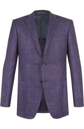 Однобортный пиджак из смеси шерсти и льна с шелком   Фото №1
