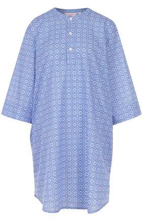 Хлопковая сорочка свободного кроя с принтом | Фото №1