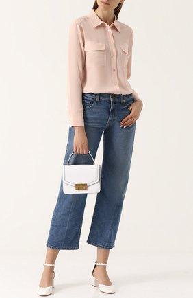 Женская шелковая блуза прямого кроя с накладными карманами Equipment, цвет светло-голубой, арт. Q23-E231 в ЦУМ | Фото №1