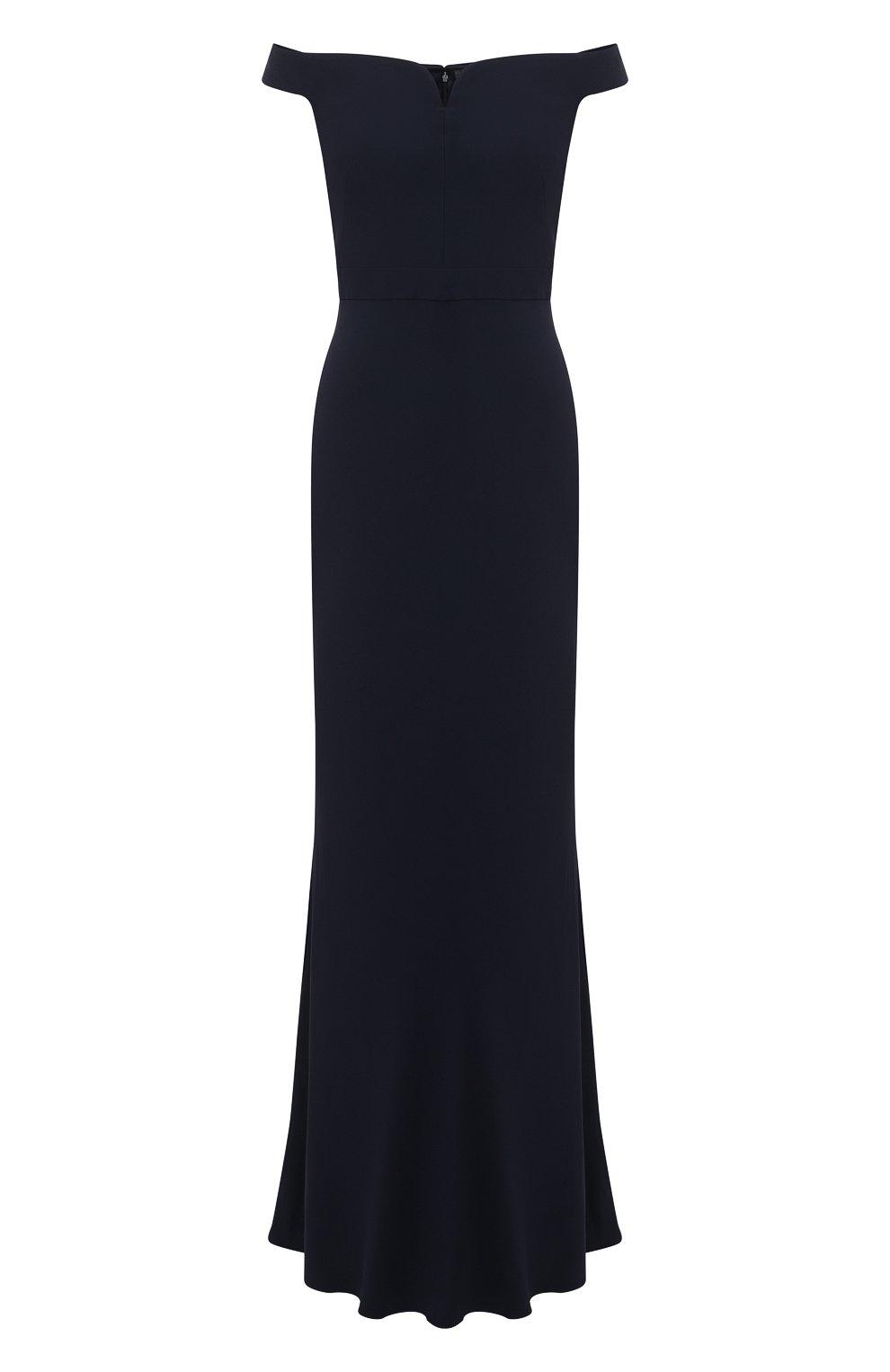 Приталенное платье-макси с открытыми плечами | Фото №1
