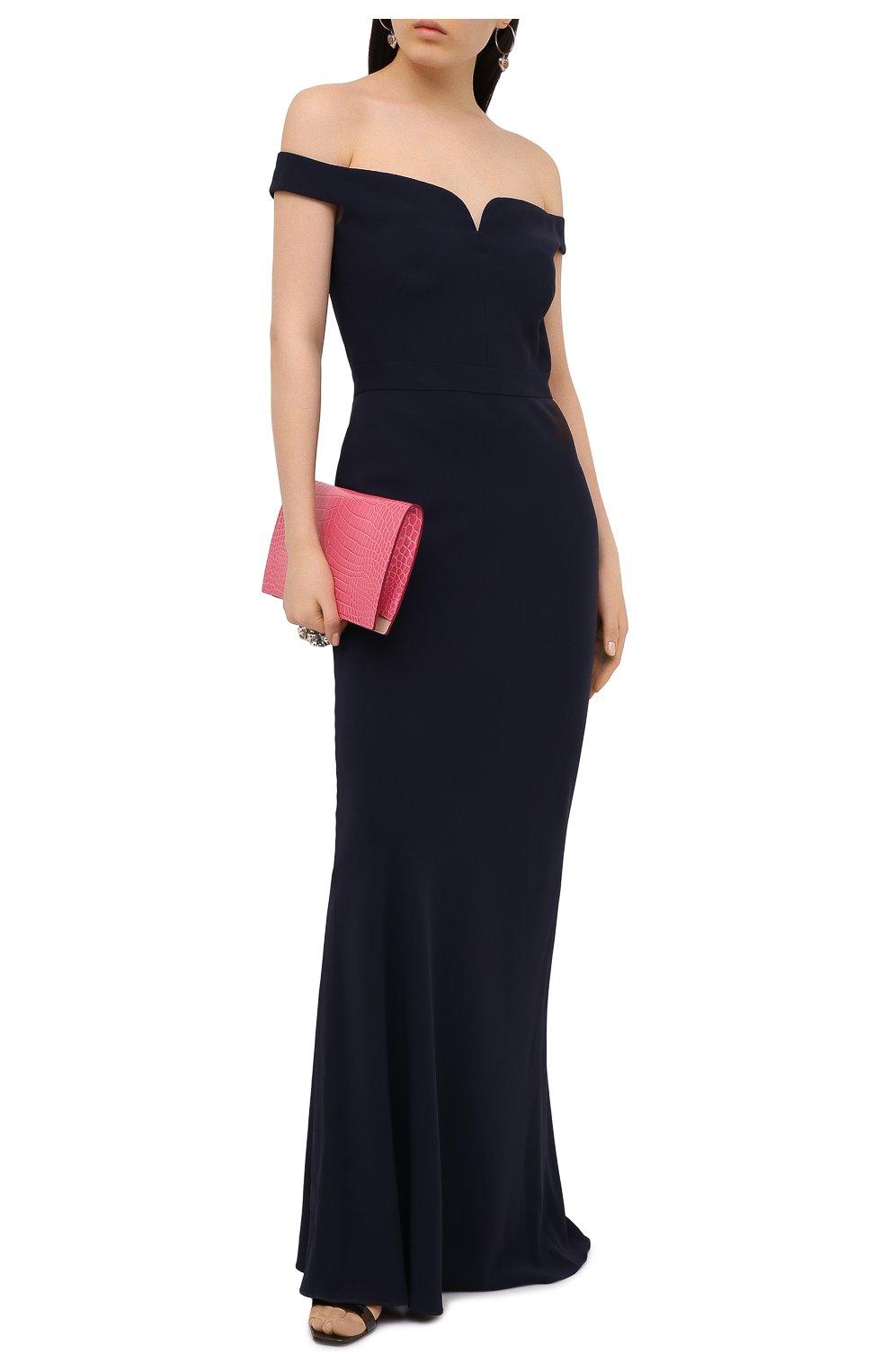 Приталенное платье-макси с открытыми плечами | Фото №2