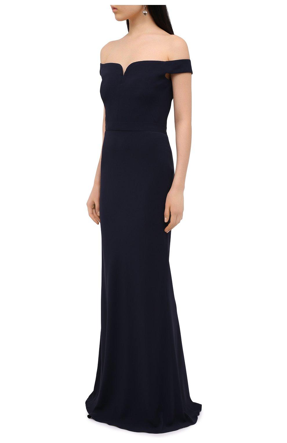 Приталенное платье-макси с открытыми плечами | Фото №3