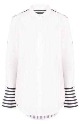 Женская хлопковая блуза в контрастную полоску Equipment, цвет белый, арт. 17-5-001161-E999C в ЦУМ | Фото №1