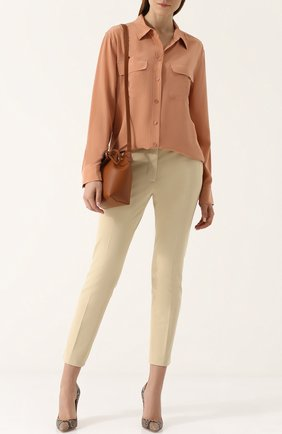 Женская шелковая блуза прямого кроя Equipment, цвет белый, арт. Q23-E035 в ЦУМ | Фото №1