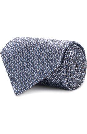 Мужской шелковый галстук с узором BRIONI синего цвета, арт. 062H00/P7449 | Фото 1 (Материал: Шелк, Текстиль; Статус проверки: Проверено; Принт: С принтом)