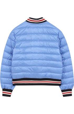 Детский пуховая куртка-бомбер на кнопках с контрастной отделкой MONCLER ENFANT голубого цвета, арт. D1-954-40316-99-53334/8-10A | Фото 2