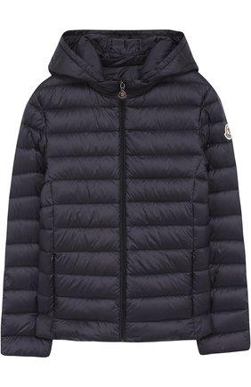 Пуховая куртка с капюшоном Moncler Enfant синего цвета   Фото №1