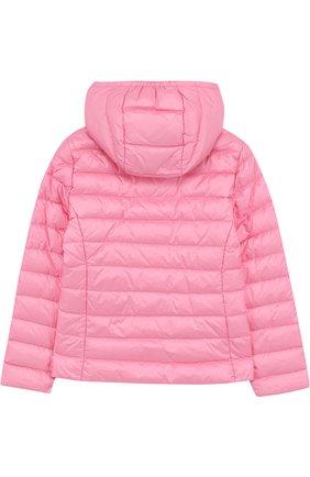 Пуховая куртка с капюшоном Moncler Enfant розового цвета | Фото №1