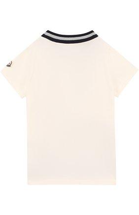 Детская хлопковая футболка с принтом и бантом Moncler Enfant белого цвета | Фото №1