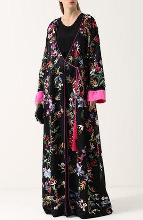 Шелковое пальто с принтом и поясом Zuhair Murad черного цвета | Фото №1