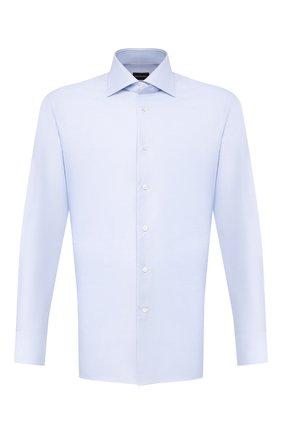 Мужская хлопковая сорочка с воротником кент ERMENEGILDO ZEGNA голубого цвета, арт. 301030/9RS0GS   Фото 1
