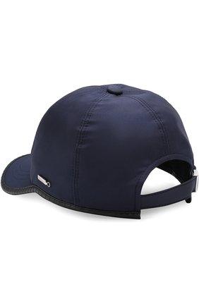 Мужской шелковая бейсболка с кожаной отделкой ZILLI темно-синего цвета, арт. HM0CAP-J0023/0005 | Фото 2