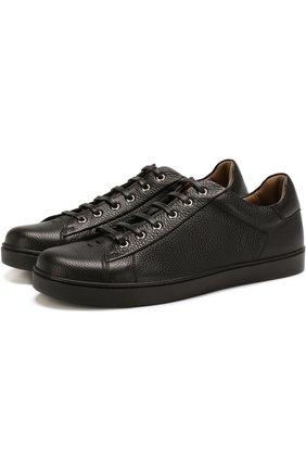 Мужские кожаные кеды на шнуровке GIANVITO ROSSI черного цвета, арт. S26340.M1BLK.B0XNER0 | Фото 1