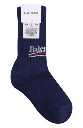 Женские хлопковые носки с логотипом бренда BALENCIAGA синего цвета, арт. 500812/372B4 | Фото 1