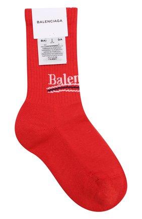 Женские хлопковые носки с логотипом бренда BALENCIAGA красного цвета, арт. 500812/372B4 | Фото 1