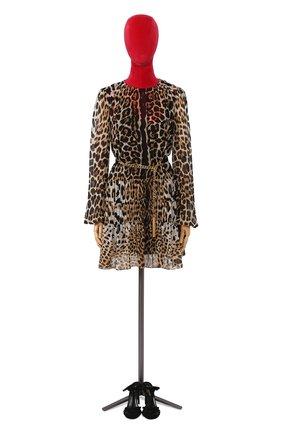 Шелковое мини-платье с леопардовым принтом | Фото №1