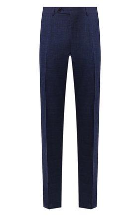 Мужской брюки из смеси шерсти и шелка CANALI темно-синего цвета, арт. 71012/AE00386 | Фото 1