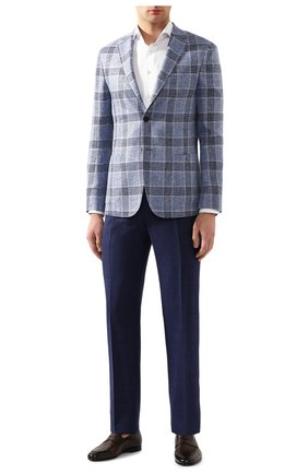 Мужской брюки из смеси шерсти и шелка CANALI темно-синего цвета, арт. 71012/AE00386 | Фото 2
