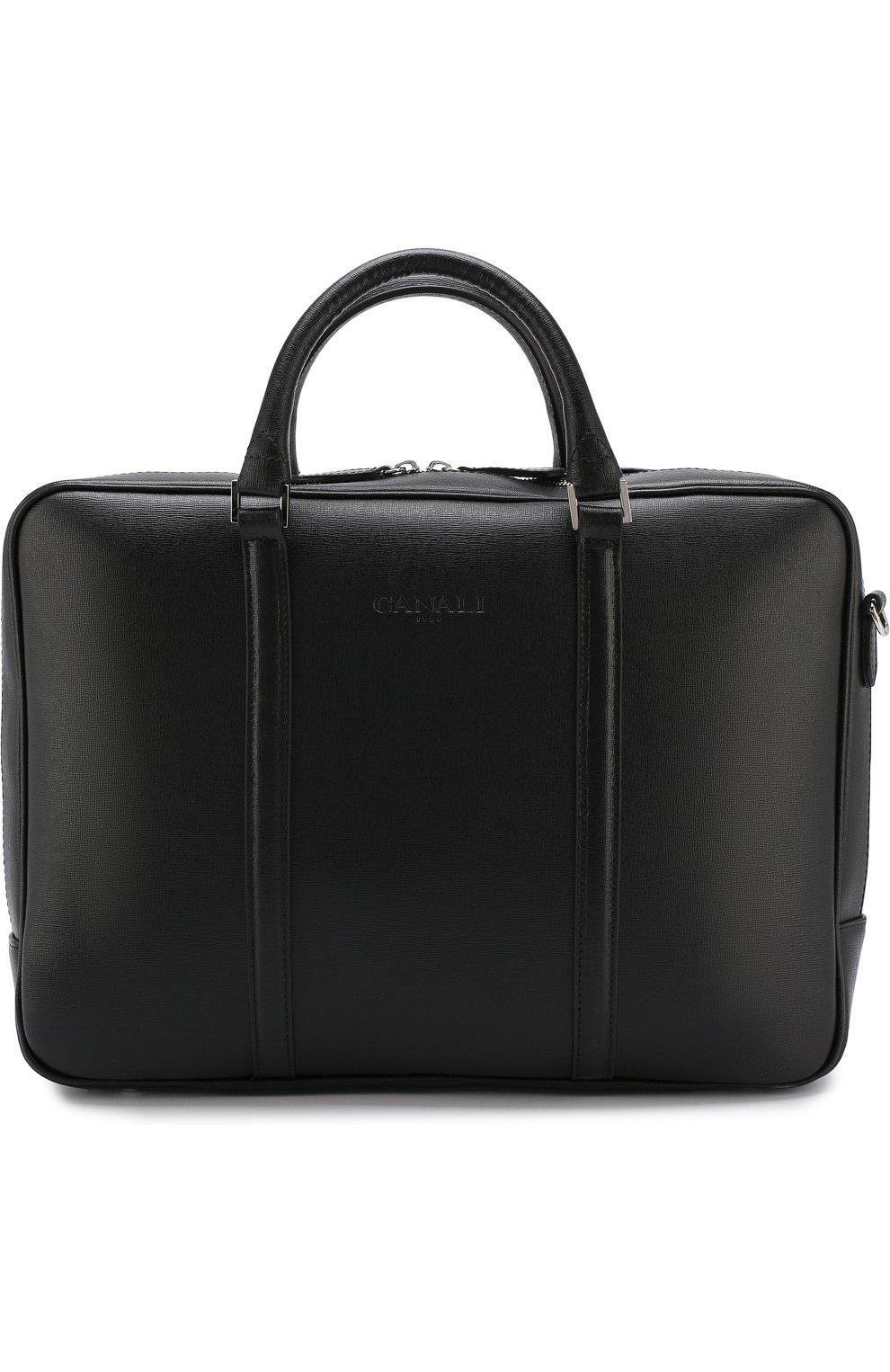 5d6a66a83658 Мужская черная кожаная сумка для ноутбука с плечевым ремнем CANALI ...