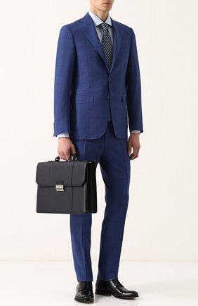 Кожаный портфель с плечевым ремнем Canali темно-синий   Фото №2
