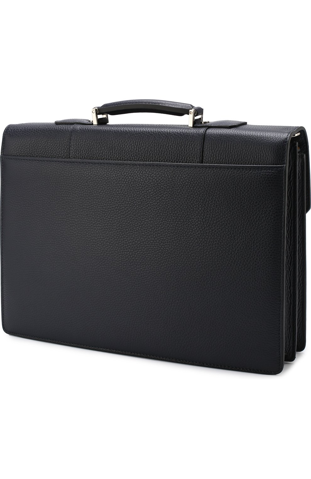 Кожаный портфель с плечевым ремнем Canali темно-синий   Фото №3