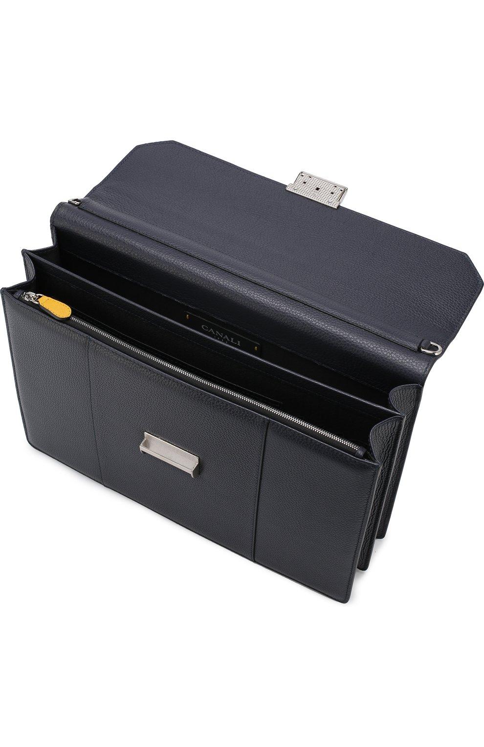 Кожаный портфель с плечевым ремнем Canali темно-синий   Фото №4