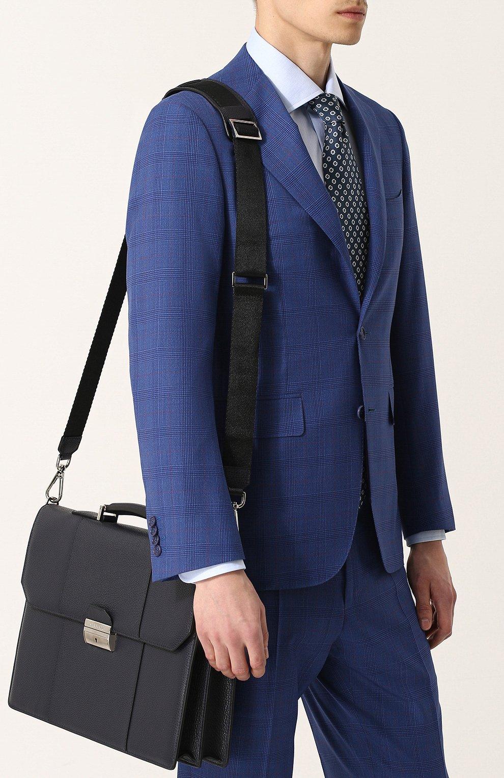 Кожаный портфель с плечевым ремнем Canali темно-синий   Фото №5