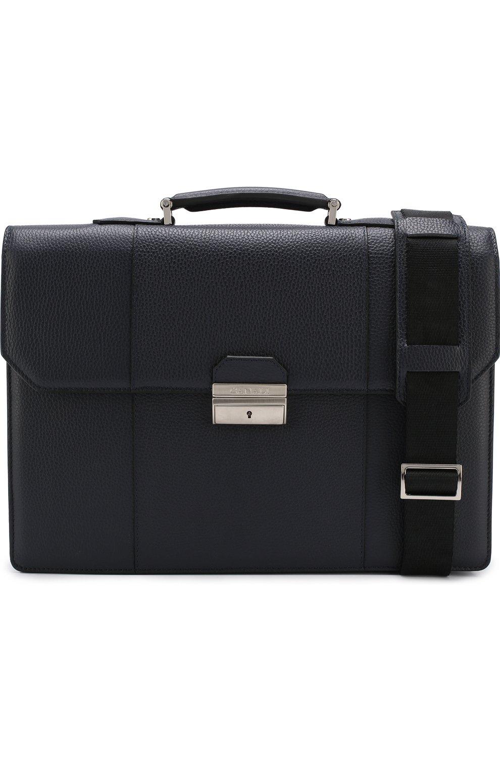 Кожаный портфель с плечевым ремнем Canali темно-синий   Фото №6