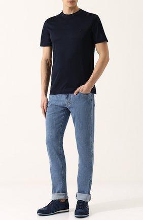 Мужская хлопковая футболка с круглым вырезом CANALI темно-синего цвета, арт. T0356/MJ00002 | Фото 2