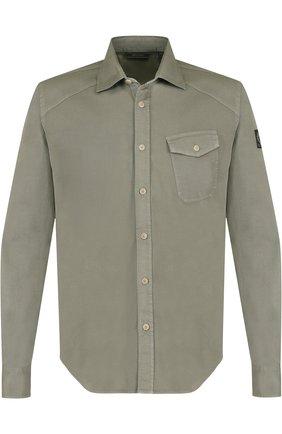 Хлопковая рубашка с накладным карманом Belstaff зеленая | Фото №1