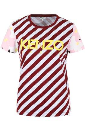 Хлопковая футболка в полоску с логотипом бренда