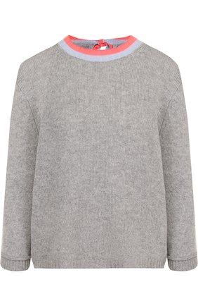 Кашемировый пуловер с укороченным рукавом и круглым вырезом   Фото №1