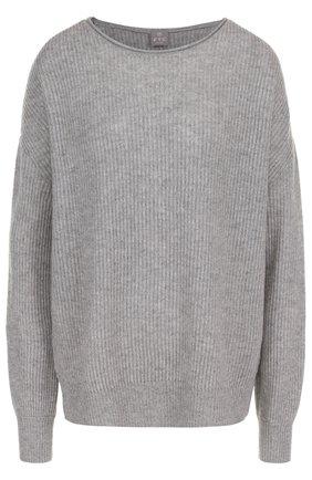 Кашемировый пуловер фактурной вязки с круглым вырезом   Фото №1