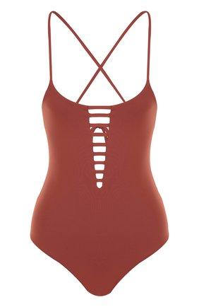 Слитный купальник с открытой спиной и шнуровкой Melissa Odabash коричневый | Фото №1