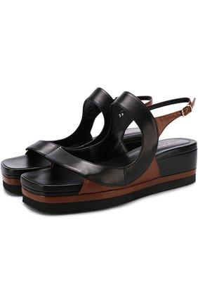 Кожаные сандалии на массивной подошве | Фото №1