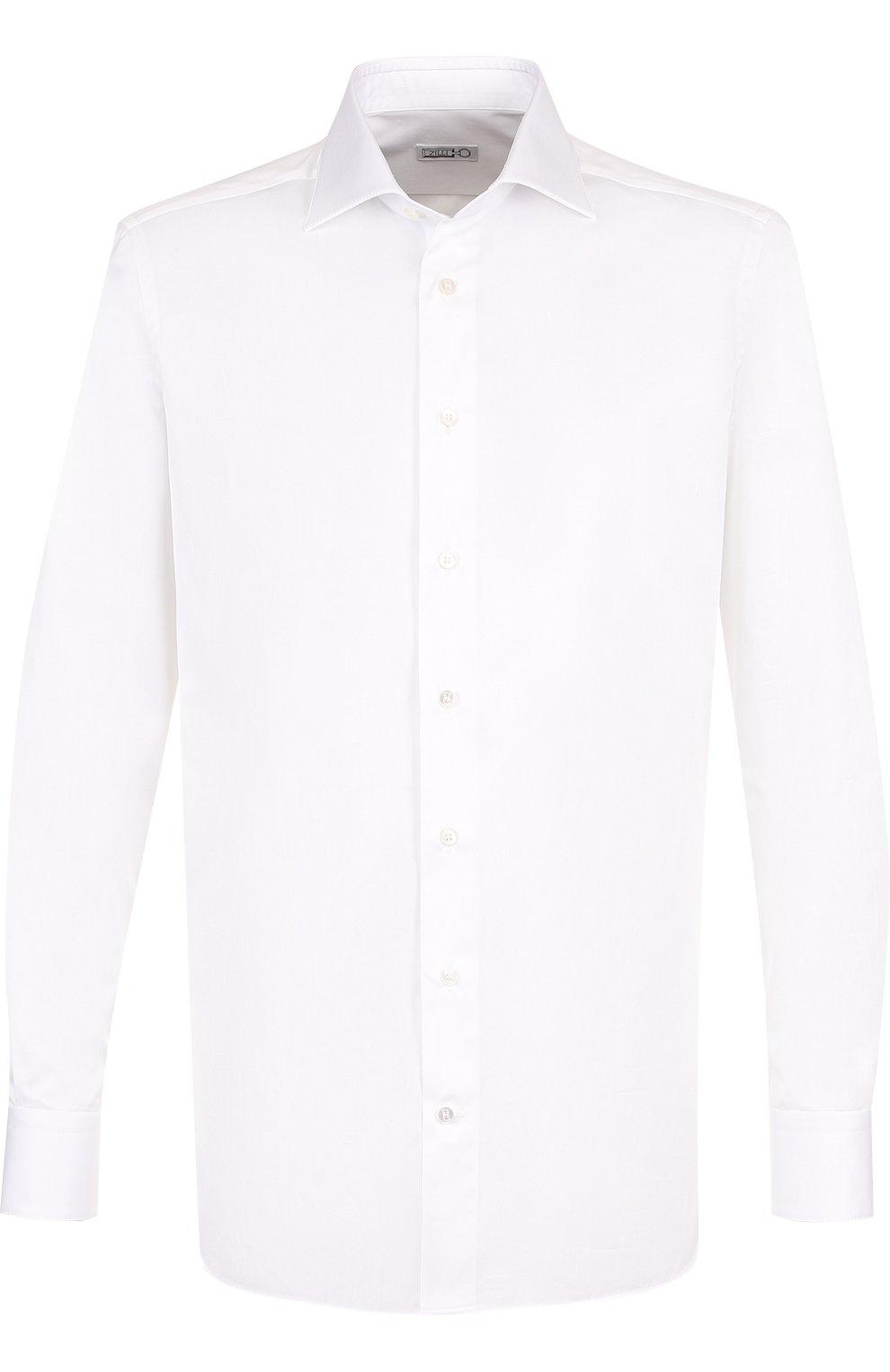 Мужская хлопковая сорочка с воротником акула ZILLI белого цвета, арт. MFP-00701-10715/0002 | Фото 1