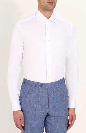 Мужская хлопковая сорочка с воротником акула ZILLI белого цвета, арт. MFP-00701-10715/0002 | Фото 3