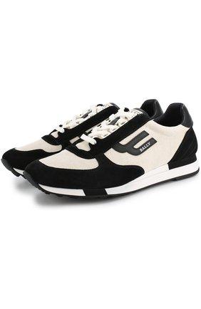 Комбинированные кроссовки на шнуровке Bally черные | Фото №1