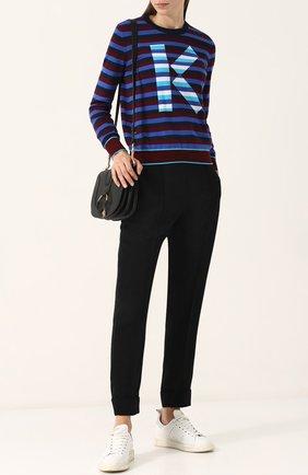 Женские однотонные брюки прямого кроя со стрелками KENZO черного цвета, арт. 2PA1675AM | Фото 2