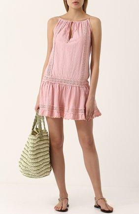 Приталенная хлопковая туника Melissa Odabash розовая | Фото №1