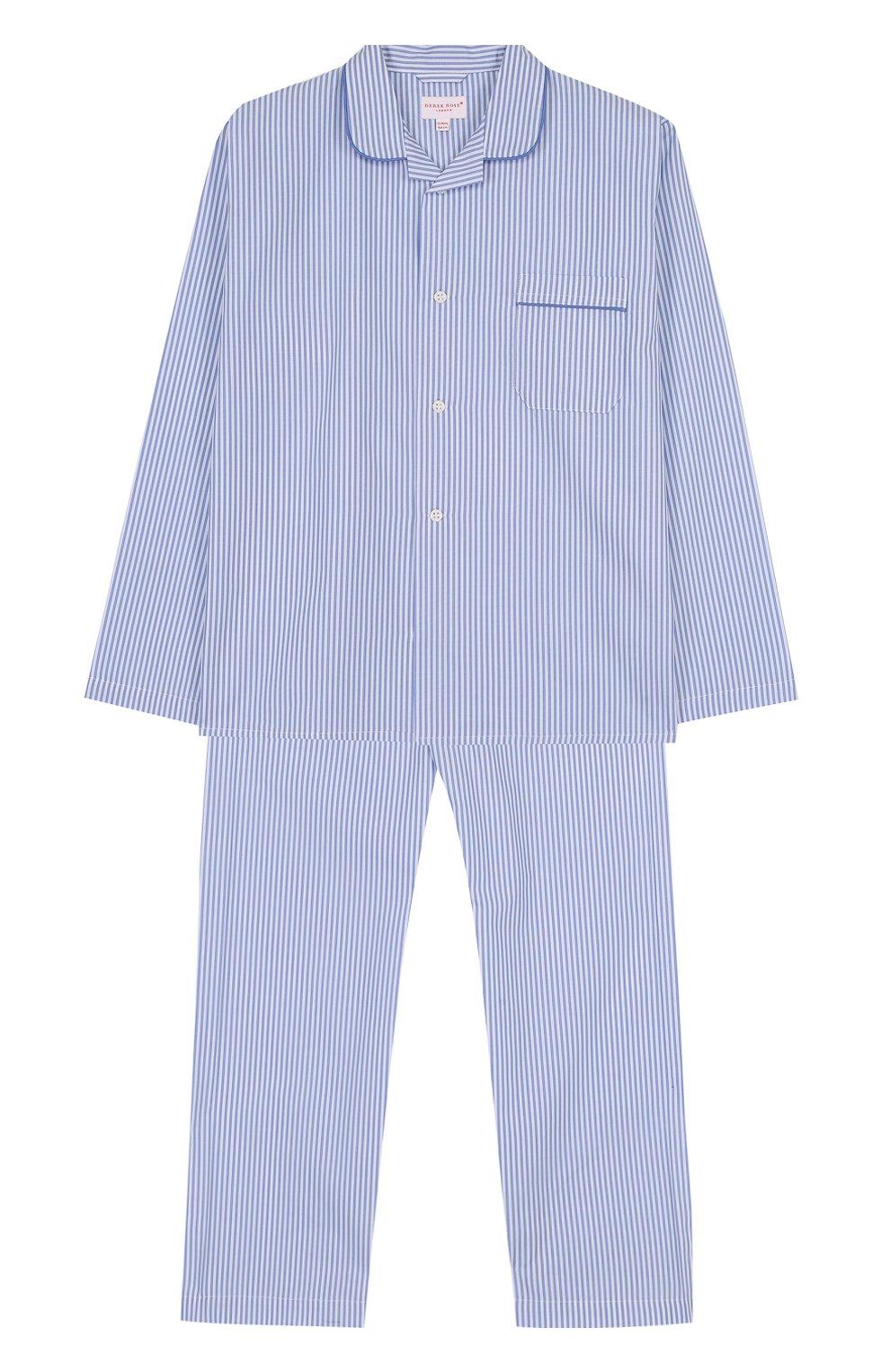 Хлопковая пижама с принтом DEREK ROSE голубого цвета — купить за ... f7e08bce719a5