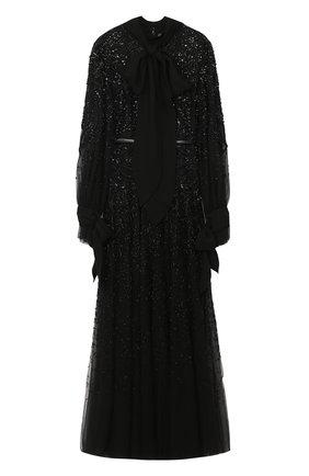 Приталенное платье-макси с воротником аскот и фактурной вышивкой   Фото №1