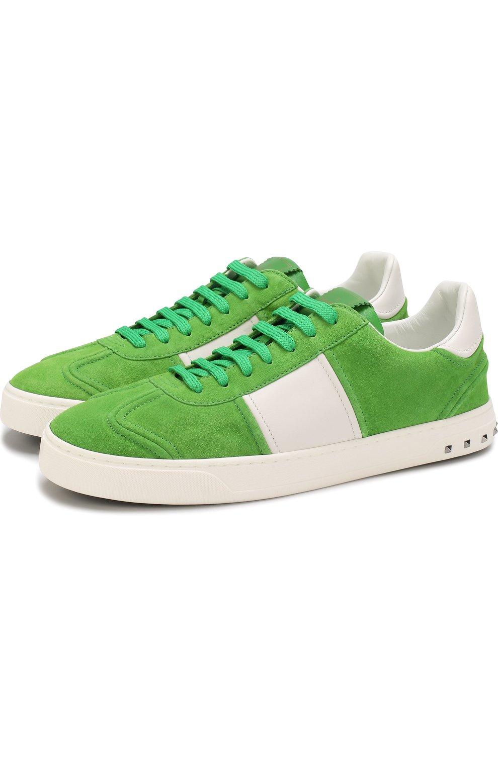 Мужские зеленые замшевые кеды valentino garavani flycrew на шнуровке ... e34578994fd