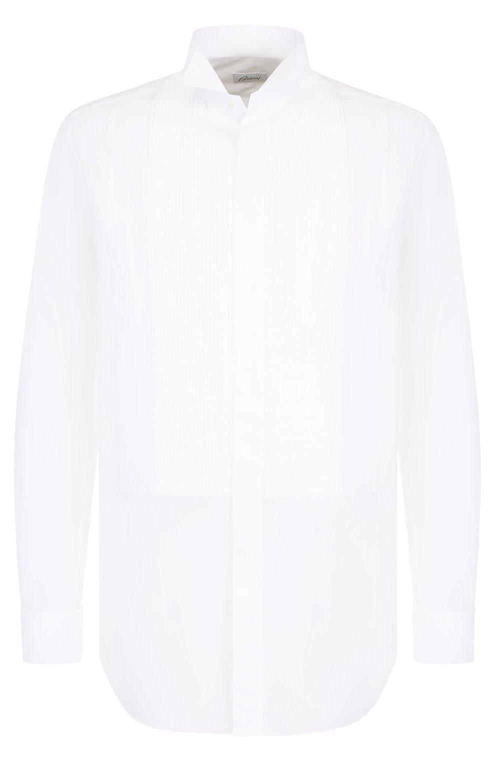 Мужская хлопковая сорочка с воротником бабочка BRIONI белого цвета, арт. RCC80Y/PZ04I   Фото 1