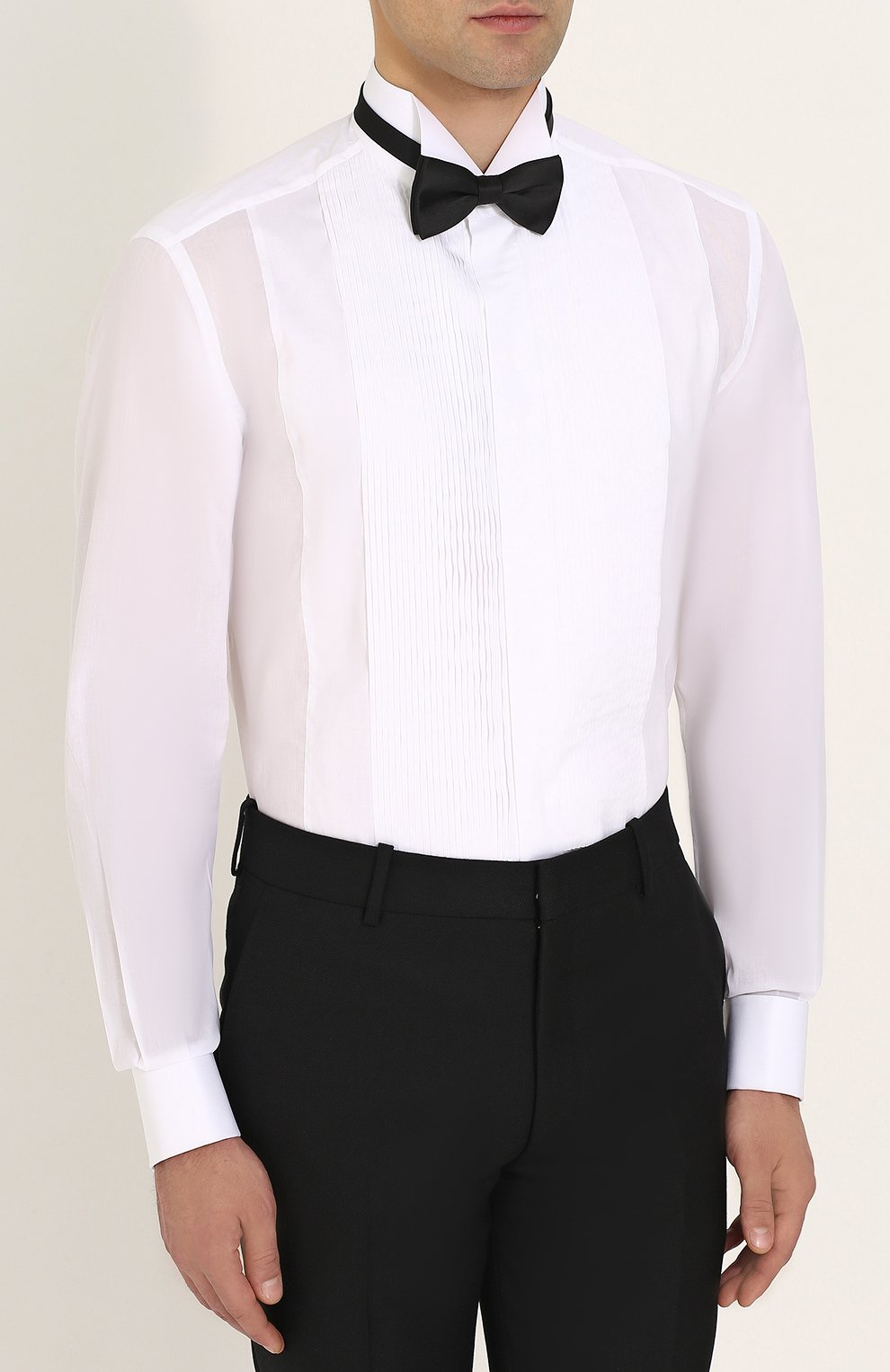 Мужская хлопковая сорочка с воротником бабочка BRIONI белого цвета, арт. RCC80Y/PZ04I   Фото 4