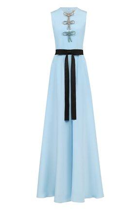 Шелковое платье-макси с контрастным поясом | Фото №1