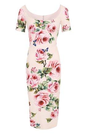 Платье-футляр с коротким рукавом и цветочным принтом