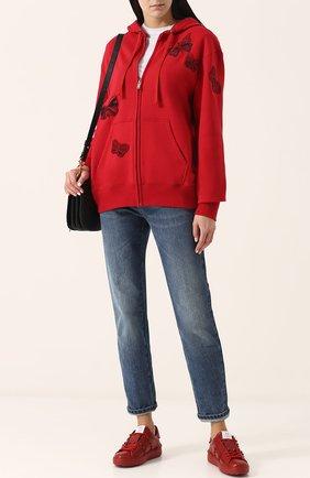 Женские кожаные кеды valentino garavani rockstud untitled на шнуровке VALENTINO красного цвета, арт. PW2S0A01/MZD | Фото 2